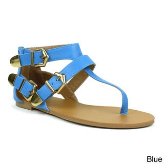 Fahrenheit Women's 'Famke-09' Metallic Buckle Flat Sandals
