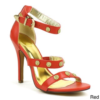 Fahrenheit Women's 'Irina-01' Strappy Metallic Lion-head Sandals