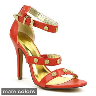 Fahrenheit Women's 'Irina-01' Strappy Metallic Lion-head Sandals