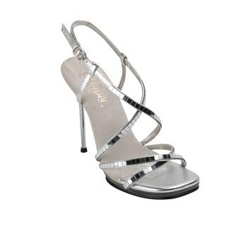 Fabulicious Women's 'Chic-09' Mirrored Silver Strappy Stiletto Heels