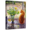 Timothy Easton 'Striped Jug with Spring Flowers' Gallery-wrapped Canvas Wall Art