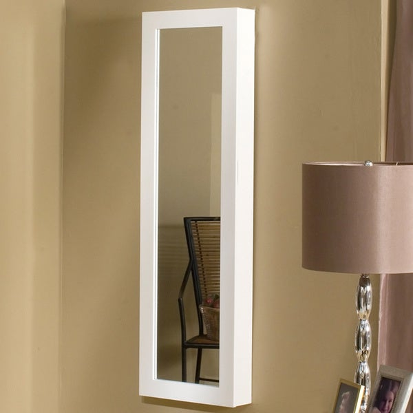 Dalton Home Collection White Mirrored Jewelry Wall Armoire