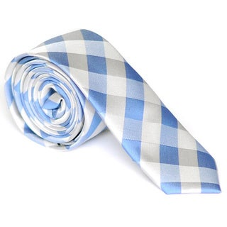 Skinny Tie Madness Men's Blue Plaid Skinny Tie