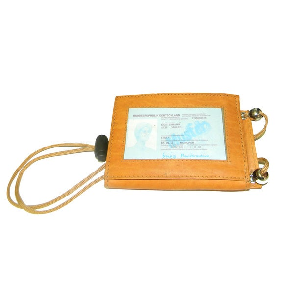 Hollywood Tag Leather Neck ID Travel Pouch Wallet