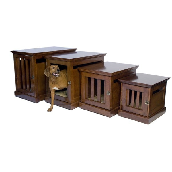 Denhaus mahogany townhaus wooden pet crate 15937163 shopping the best prices Wooden crates furniture