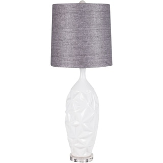 Glamorous Grey Linen White Ceramic Lamp