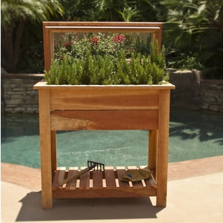 Raised Redwood 36-inch Grow Planter Box with Shelf