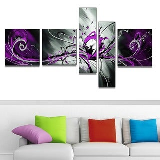 Hand-painted Abstract Purple Splash 5-piece Painting Set