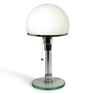 Bauhaus White Glass/Metal Table Lamp