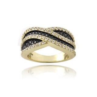 Glitzy Rocks Gold over Silver White Topaz and Champagne Diamond Accent Curve Ring