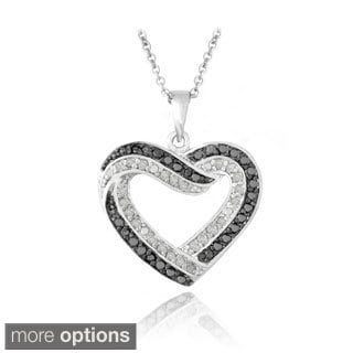 DB Designs Silvertone 1/2ct TDW Black and White Diamond Heart Necklace (I-J, I2-I3)