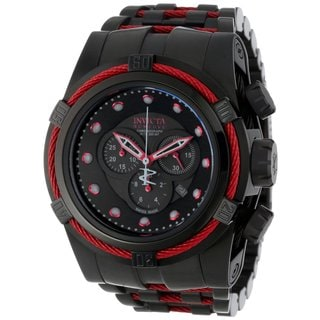 Invicta Men's 'Bolt Reserve' Black Stainless Steel Flame Fushion Watch