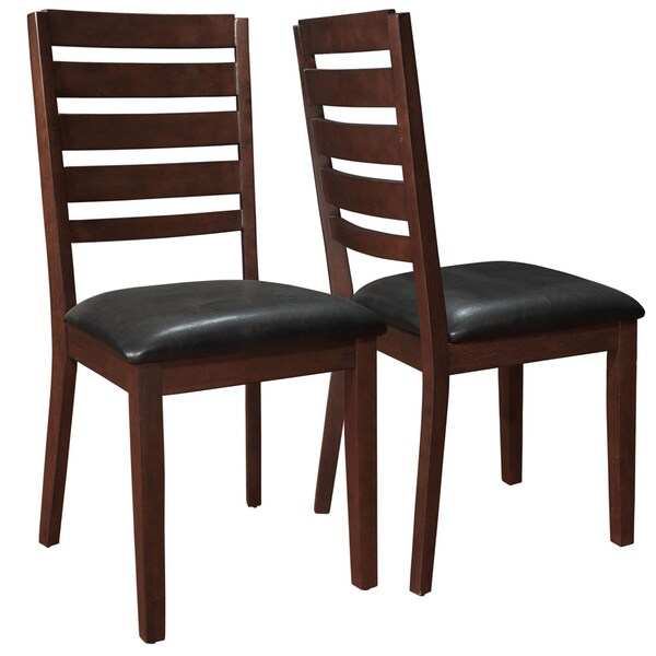 dark espresso wood dining chairs set of 2 overstock
