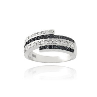 DB Designs Silvertone 1/2ct TDW Black and White Diamond Ring