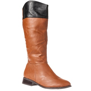Bamboo Women's 'Asiana-72' Two-tone Knee-high Riding Boots