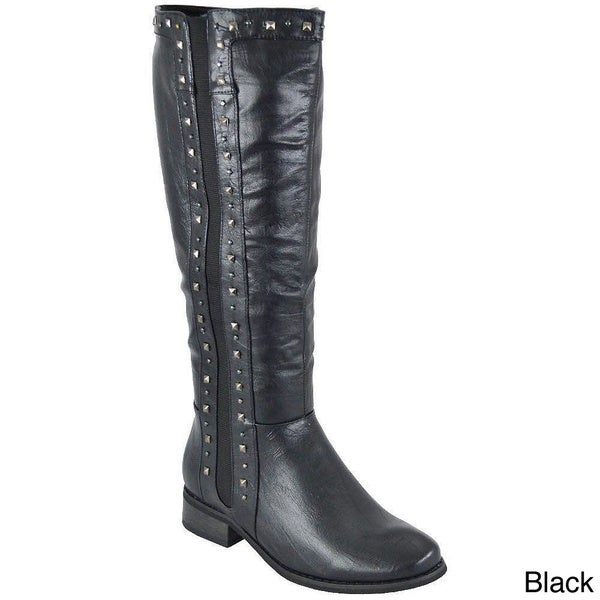 Yoki Women's 'Tiara-16' Studded Knee-high Riding Boots