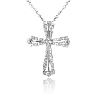 Glitzy Rocks Sterling Silver White Topaz Ribbon Cross Necklace