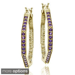 Glitzy Rocks 18k Goldplated 3/4ct TGW Gemstone Octagon Hoop Earrings