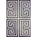 nuLOOM Handmade Greek Key Navy New Zealand Wool Rug (5' x 8')