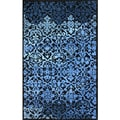 Hand-tufted Transitional Lattice Blue Wool Rug (5' x 8')
