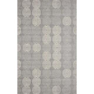 nuLOOM Handmade Elegant Link Grey Wool Rug (7'6 x 9'6)