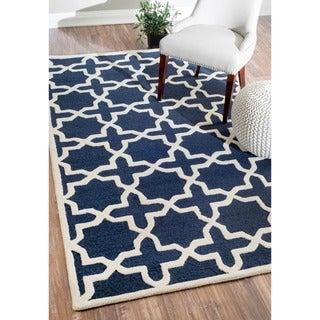 nuLOOM Handmade Marrakesh Trellis Blue Wool Rug (7'6 x 9'6)
