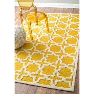 nuLOOM Handmade Marrakesh Trellis Yellow Wool Rug (8'6 x 11'6)