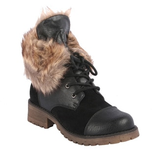 Radiant Women's 'Martin' Fur-collar Ankle Boots