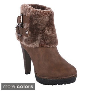 Radiant Women's 'Naughty' Fur-cuff Ankle Boots