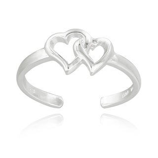 Mondevio Sterling Silver Double Hearts Toe Ring