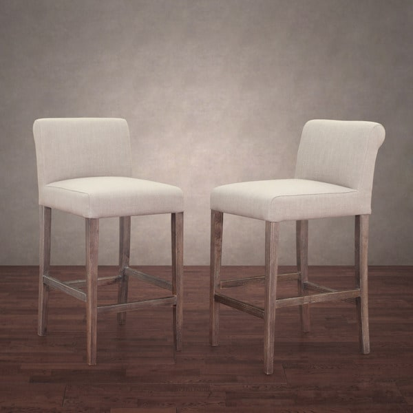 Cosmopolitan Beige Linen Counter Stools Set Of 2