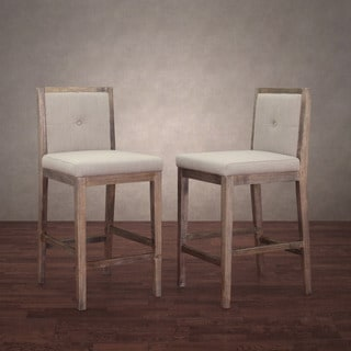 Patterson Beige Linen Counter Stools (Set of 2)