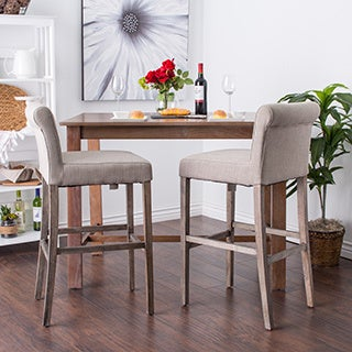 Cosmopolitan Beige Linen Bar Stools (Set of 2)