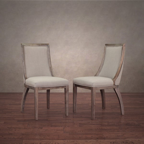 park avenue beige linen dining chairs set of 2 15937278