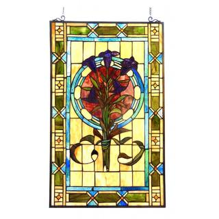 Tiffany Style Floral Design Window Panel/Suncatcher
