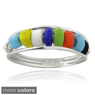Mondevio Sterling Silver Multi-color Bead Toe Ring