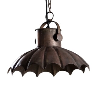 Ferrisburg Distressed Steel Hanging Lamp , Handmade in India