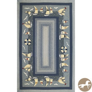 Christopher Knight Home Hand-woven Sailboats Blue Area Rug (7'6 x 9'6)