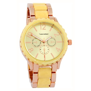 Vernier Women's Faux Chronograph Bone Bezel Rose Gold-Tone Link Watch