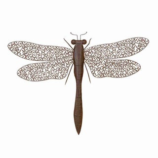 Antique Brown 37-inch Wide Metal Dragonfly Home Décor