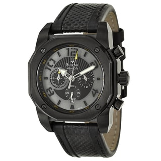 Bulova Men's 'Marine Star' Black Stainless Steel Chronograph Military Time Watch