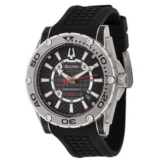 Bulova Men's 'Precisionist Champlain Diver' Stainless Steel Carbon Fiber Military Time Watch