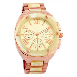 Vernier Women's Faux Chronograph Bone Rose Gold-Tone Bracelet Watch