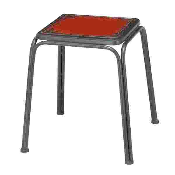 Bright Red Metal Stool