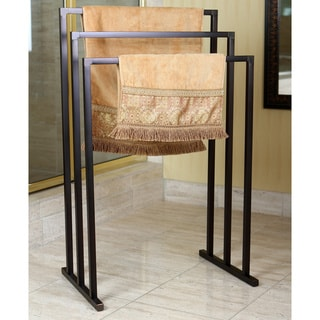 Pedestal Oil Rubbed Bronze 3-tier Iron Towel Rack