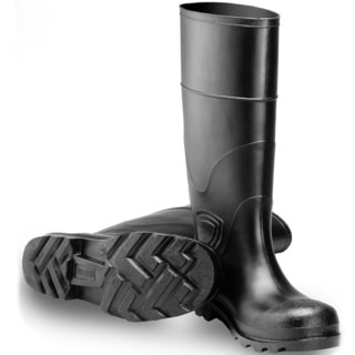 Men's Black PVC Steel Toe Knee-high Rain Boots