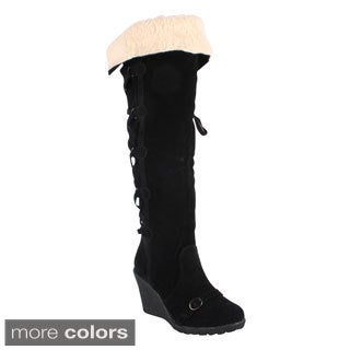 Radiant Women's 'Sensi' Cuffed Collar Knee-high Wedge Boots