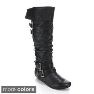 Forever Women's 'Tamika-42' Knee-high Buckled Slouch Boots