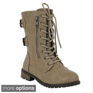 Forever Women's 'Mango-61' Outside Zip Combat Boots