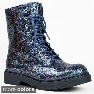 Qupid Women's 'Source-03X' Glitter Military Booties